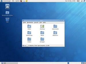 Der Default-Desktop von Fedora 12