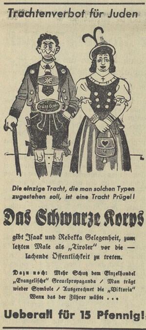 """Die Alpen als Identitätsfestung: eine Karikatur auf das """"Trachtenverbot für Juden""""  aus dem """"Völkischen Beobachter""""  von 1938."""