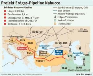 """Verlauf von geplanter Nabucco-Pipeline und """"Konkurrenzrouten""""."""