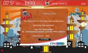"""FPÖ Steiermark wirbt mit """"Moschee Baba""""-Spiel - Ein von den Grünen veröffentliches FPÖ-internes Papier instruiert Parteifunktionäre , wie sie das Spiel gegen die Kritik verteidigen sollen."""
