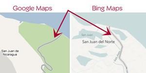 Search Engine Land zeigt den Grenzverlauf zwischen Nicaragua und Costa Rica auf Google Maps und Bing zum Vergleich.