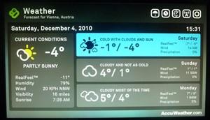 Die Wetter-Anwendung von Accuweather ist direkt ins Menü von Boxee integriert.