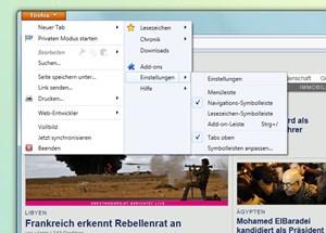 Ein besonderes Merkmal der Windows-Ausgabe: Der Firefox-Knopf in der Titelzeile bietet den Schnellzugriff auf die wichtigsten Funktionen und Einstellungen.