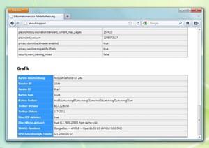 Ob die Hardwarebeschleunigung des Firefox 4 funktioniert lässt sich über about:support herausfinden.