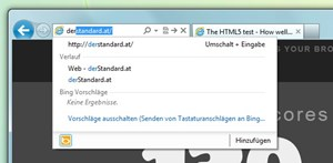 Die Onebox für URL- und Suchfenster zusammen, aufgrund der Design-Entscheidung, die Tabs direkt daneben zu platzieren, kann das schon mal recht eng werden.