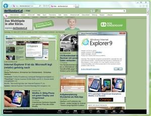 Der Internet Explorer 9, sofort fällt das deutlich reduzierte Interface auf.