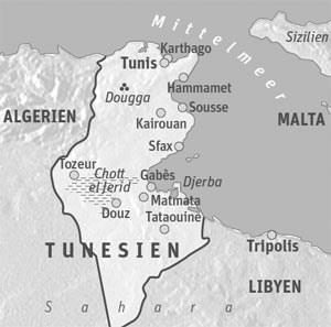 Reiseinfos TunesienAufgrund der derzeitigen Situation sollten laut österreichischem Außenministerium Reisen bis auf Weiteres auf die Hauptstadt Tunis und die Touristenorte an der Küste einschließlich Djerba beschränkt bleiben.Dort befinden sich auch viele Sehenswürdigkeiten einschließlich der Ruinen von Karthago und des Künstlerdorfs Sidi Bou Said.Tunis Air fliegt sonntags und donnerstags von Wien nach Tunis.Pauschalangebote ab 355 Euro für das Hotel Sindbad bei Tui.