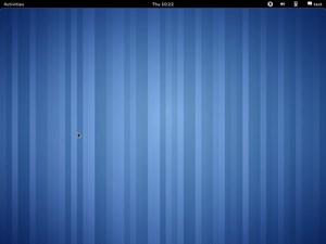 GNOME 3.0 direkt nach dem Einloggen, das Interface ist dabei recht zurückhalten gestaltet.
