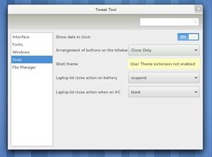 Das - extern erhältliche - GNOME Tweak Tool erlaubt einige zusätzliche Einstellungen, die man im Kontrollzentrum weggelassen hat.