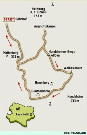 Gesamtgehzeit 3¾ Stunden, Höhendifferenz rund 400 Meter. Kein Stützpunkt auf der Runde. ÖK25V Blatt 5327-Ost (Hainburg an der Donau), Maßstab 1:25.000