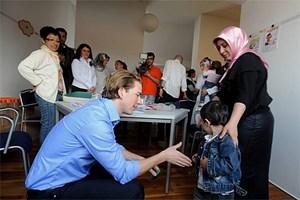 """""""Hallo Mohammed!"""" Integrationsstaatsekretär Sebastian Kurz auf Stippvisite im Ausländerbezirk. Mohammed verhielt sich zwar nichtpublicity-gerecht, hielt aber fast eine Stunde lang brav still."""