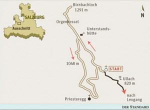 Gesamtgehzeit 3¼ Stunden, Höhendifferenz rund 450 Meter. Gasthaus in Priesteregg. ÖK25V Blatt 3215-West (Lofer), Maßstab 1:25.000.