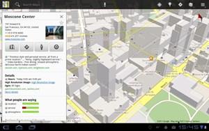 """Eines der Mankos von """"Honeycomb"""" ist, dass es bislang nur wenige auf den Tablet-Formfaktor optimierte Apps gibt. Google-eigene Programme bilden hier oft die Ausnahme, wie im Bild Google Maps oder auch..."""
