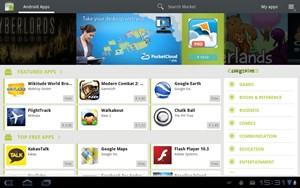 Der Android Market kann auf Tablets nur begrenzt überzeugen, ist teilweise etwas unübersichtlich und unflexibel.