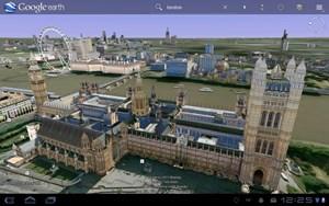 ...Google Earth, das in der Tablet-Version - wie auch am Desktop - 3D-Gebäude darstellen kann.