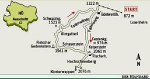 Gesamtgehzeit 5½ Stunden, Höhenunterschied knapp 900 Meter. Fischerhütte während der Betriebszeiten der Zahnradbahn (Anfang Mai bis Ende Oktober) durchgehend bewirtschaftet.ÖK25V Blatt 4212-West (Schneeberg und Rax), Maßstab 1:25.000; Freytag & Berndt Atlas Wiener Hausberge, 1:50.000.
