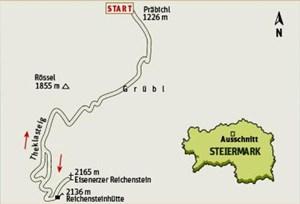 Gesamtgehzeit 4¾ bis 5 Stunden, Höhendifferenz rund 900 Meter. Reichensteinhütte bis 9. Oktober durchgehend bewirtschaftet. ÖK25V Blatt 4215-Ost (Eisenerz), Maßstab 1:25.000.