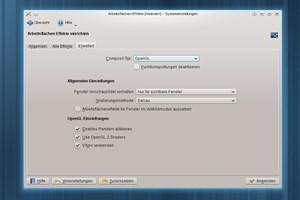 Eine der - gerade langfristig - wichtigsten Neuerungen ist die Unterstützung von OpenGL2 / OpenGL ES 2.0 beim Fenstermanager KWin.