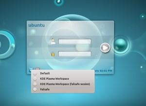 Der Login-Manager KDM versteht sich jetzt mit Grub2 (im Bild eine Vorversion von Kubuntu 11.10)