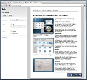 Die noch relativ neue Druckvorschau nutzt den internen PDF-Reader von Chrome.
