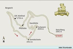 Gesamtgehzeit 3¾ Stunden, Höhendifferenz 400 Meter. Pritz- und Hanselhütte während der Almsaison bewirtschaftet. ÖK25V Blatt 3229-Ost (St. Michael im Lungau), Maßstab 1:25.000
