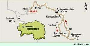 Gesamtgehzeit sechs Stunden, Höhendifferenz 1100 Meter. Schönwetterhütte bis 9. Oktober bewirtschaftet. ÖK25V Blatt 3218-Ost (Bad Mitterndorf) und 4213-West (Grimming), Maßstab 1:25.000.