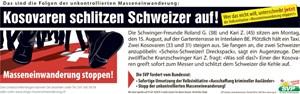 Artikelbild: Mit diesem Plakat wirbt die Schweizer Volkspartei für ein Volksbegehren gegen Massenzuwanderung. - Foto: svp