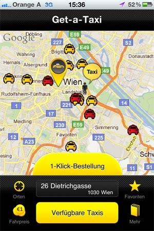 Die verfügbaren Taxis werden aufgelistet.