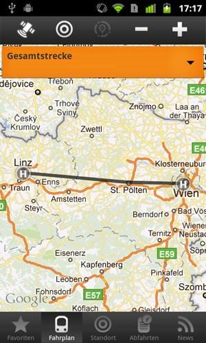 Haltestellen und Point of Interest in der Umgebung, sowie die gesamte Strecke und der Fußweg zur nächsten Haltestelle wird in Google Maps angezeigt.