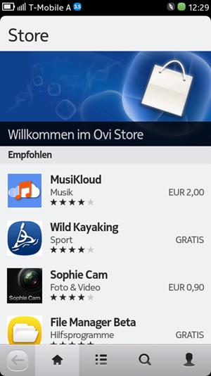 Der Ovi Store bietet zwar zahlreiche Anwendungen, für MeeGo optimiert wurde aber nur weniges.