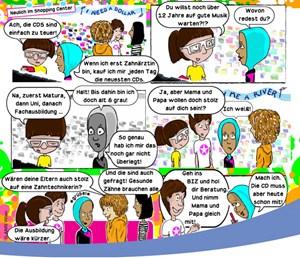 """Version 1: Der Comic mit """"Yasmin"""" - das Mädchen mit dem Kopftuch soll besser Zahntechnikerin und nicht Ärztin werden."""