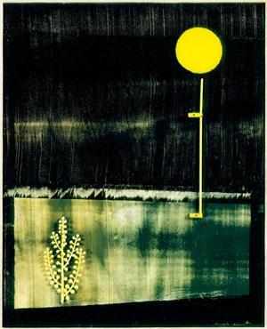 """Ein kleines, spätes Werk von Max Ernst: 1968 entstand diese dunkle und poetische Materialcollage """"La fête du Mimosa""""."""