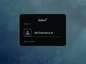 """Der Login-Screen ist nun ebenfalls im Design der GNOME Shell gehalten - und mit dezentem """"Branding"""" versehen."""