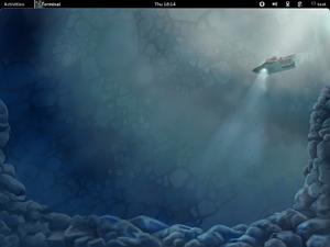 """Der GNOME 3.2.1-Desktop mit dem neuen Wallpaper von Fedora 16 """"Verne""""."""