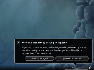 Ein nette Idee am Rande: Das Backup-Tool Deja-Dup fordert neue NutzerInnen dazu auf, ihre Daten zu sichern.