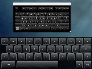 """Zwei virtuelle Tastaturen sind eine zuviel - im Bild die bei der GNOME Shell eingebaute sowie das """"Eekboard"""""""