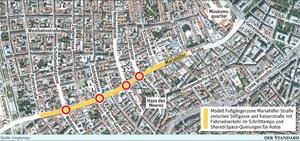 Das Modell der Fußgängerzone zwischen Stiftgasse und Kaiserstraße mit Fahrradverkehr im Schritttempo und Shared-Space-Querungen für Autos.
