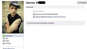 """""""Hannes"""" ist ein Facebook-Freund von Werner Faymann"""
