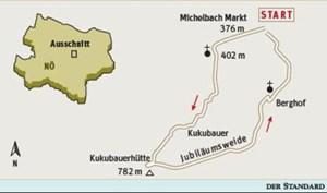 Gesamtgehzeit drei Stunden, Höhendifferenz knapp über 400 Meter. Kukubauerhütte (Von April bis Oktober Mittwoch bis Sonntag geöffnet; von November bis März an Wochenenden und Feiertagen). ÖK25V Blatt 4330-West (Hainfeld), Maßstab 1:25.000; Freytag & Berndt Wienerwald Atlas, Maßstab 1:50.000
