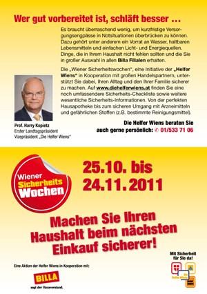 """Folder zu den Sicherheitswochen von """"Billa""""."""