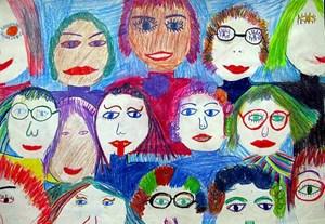 """Das Mädchen-ABC der Virginia Woolf-Schule, hier im Bild der Buchstabe V: """"VORNE IST DER VORNAME. VERONIKA, VIVIEN, VERA, VERENA, VIOLETTA, VRONI, VALERIE, VENUS, VIKTORIA, VIOLA, VIVI, VALENTINA, VITA UND VIRGINIA UND VANESSA.""""Copyright: Virginia Woolf Schule/Ruth Devime"""