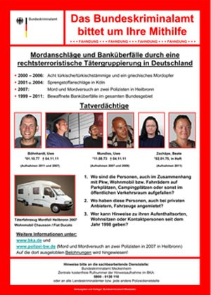 Fahndungsplakat und Aufruf zur Mithilfe auf der Seite des BKA.