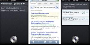 Sprachassistentin Siri hat ein (Software-)Problem damit, adäquate Ergebnisse zu liefern, die mit Abtreibung zu tun haben.