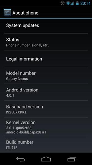 Der About-Screen des Galaxy Nexus offenbart unter anderem, dass die aktuelle Version auf einem Linux Kernel 3.0.1 basiert.