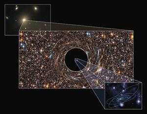 Die Illustration verdeutlicht die immense Größes des Schwarzen Loches, das in der Galaxie NGC 3842 entdeckt worden ist.