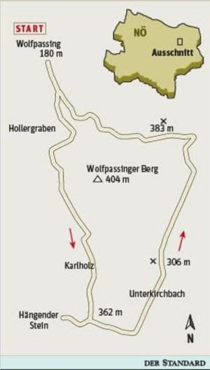 Gesamtgehzeit 3½ Stunden, Höhendifferenz knapp 400 Meter. Zwei Gasthäuser in Unterkirchbach. ÖK25V Blatt 5319-Ost (Klosterneuburg), Maßstab 1:25.000; Freytag & Berndt Wienerwald Atlas, Maßstab 1:50.000