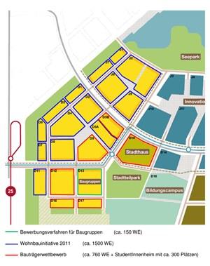 Der Plan zeigt die Baufelder der ersten Etappe.