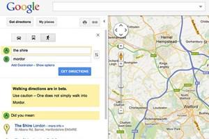 Routensuche im englischen Google Maps.