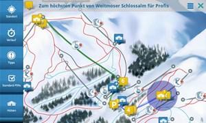 Die App beinhaltet ein Ski-Navigationssystem, einen Pistentracker, einen Hüttenguide, einen Event- und Übernachtungsguide sowie ein Hotspot-Verzeichnis mit Pisten, Liften, Toiletten, Skibus-Haltestellen und mehr.