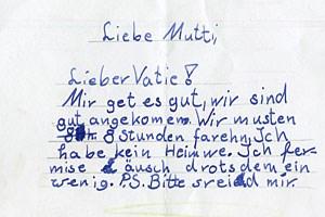 Schriftprobe eines Kindes mit Legasthenie.